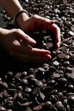 黑暗的巧克力部分 库存照片
