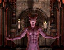 黑暗的恶魔前面寺庙 免版税库存图片