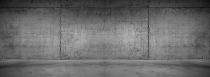 黑暗的混凝土墙全景宽现代背景纹理 免版税图库摄影