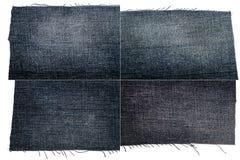 黑暗的牛仔裤织品纹理的汇集 图库摄影