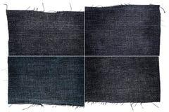 黑暗的牛仔裤织品纹理的汇集 库存照片