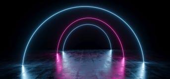 黑暗的空的黑圈子弧塑造了在难看的东西混凝土的霓虹发光的激光萤光虚拟现实蓝色紫色充满活力的光 皇族释放例证