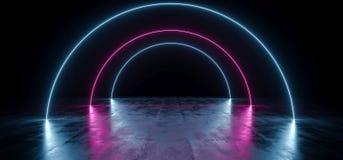 黑暗的空的黑圈子弧塑造了在难看的东西混凝土的霓虹发光的激光萤光虚拟现实蓝色紫色充满活力的光 向量例证