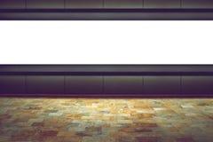 黑暗的背景的空的委员会在展示厅 库存例证