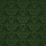 黑暗的花卉绿色无缝的墙纸 免版税库存照片