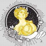 黑暗的言情维多利亚女王时代的有浮雕的贝壳 葡萄酒用叶子和玫瑰装饰的黑色框架的美丽的希腊夫人 图库摄影