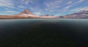 黑暗的进入的盐水湖 免版税库存图片