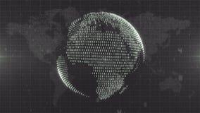 黑暗的黑白地球-地球从关于地球地图背景的数据形成了 免版税库存图片