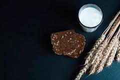 黑暗的黑麦,与向日葵种子的谷物面包,杯牛奶,麦子在一个黑暗的背景页岩板,健康eati的概念剥落 免版税图库摄影