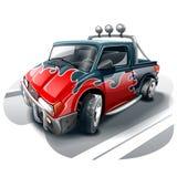 黑有火焰图画的动画片越野汽车在身体 向量例证