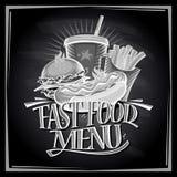 黑板与热狗,汉堡包,炸薯条的快餐菜单 库存照片