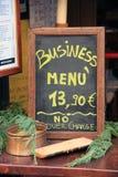 黑板企业菜单 库存照片