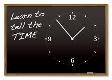 黑板告诉时间 免版税库存图片