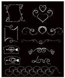 黑板和白垩 乱画样式 手拉的葡萄酒漩涡装饰品的传染媒介汇集与心脏的 向量例证