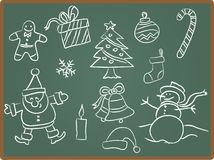 黑板圣诞节图标 免版税库存照片