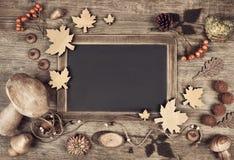 黑板季节性大模型秋天的,文本空间 免版税库存照片
