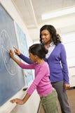 黑板实习教师 免版税库存照片