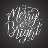 黑板快活和明亮的手字法 库存照片