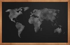 黑板映射世界 免版税库存照片