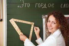 黑板铅笔统治者教师 库存图片