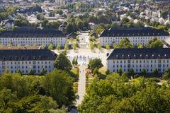 黑梅尔, Sauerland,北部莱茵河西华里亚,德国- 2013年8月16日:在夏天期间,在黑梅尔市的全景 图库摄影