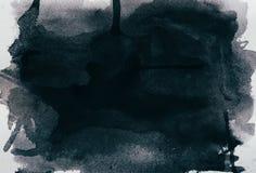 黑水彩纹理 免版税库存照片