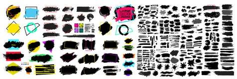 黑油漆、墨水刷子冲程、刷子、线或者纹理 肮脏的艺术性的设计元素、箱子、框架或者背景文本的 空白的sha 库存例证