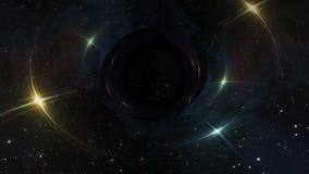 黑洞在凉快星时空漏斗坑无缝的圈动画背景新的质量普遍的科学拉扯 皇族释放例证