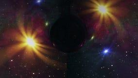 黑洞在凉快星时空漏斗坑无缝的圈动画背景新的质量普遍的科学拉扯 库存例证