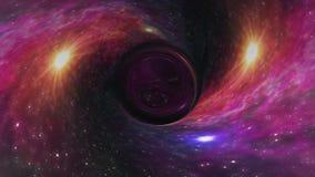 黑洞在凉快星时空漏斗坑无缝的圈动画背景新的质量普遍的科学拉扯 向量例证