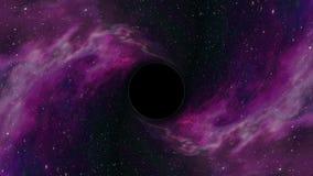 黑洞在星云星时空漏斗坑无缝的圈动画背景新的质量普遍科学拉扯 库存例证