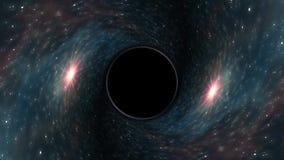 黑洞在星云星时空漏斗坑无缝的圈动画背景新的质量普遍科学拉扯 皇族释放例证