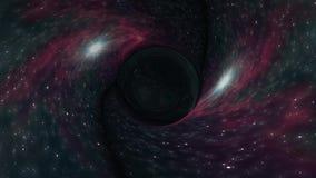 黑洞在星时空漏斗坑动画背景新的质量普遍科学凉快的好的4k库存拉扯 皇族释放例证