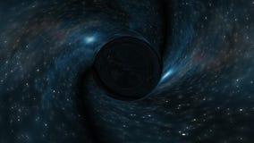 黑洞在星时空漏斗坑动画背景新的质量普遍科学凉快的好的4k库存拉扯 库存例证