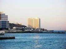 黑海在离傲德萨的附近海岸  免版税库存照片