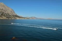 黑海在Novyi Svit镇,克里米亚 库存图片