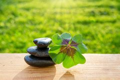 黑温泉石头和四片叶子三叶草 库存照片