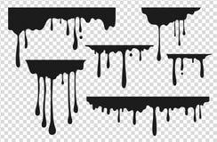 黑滴下的污点 液体油漆下落,油墨水泼溅物熔化巧克力焦糖飞溅黑街道画污点 ?? 向量例证