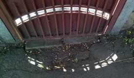 黑点的样式在地面上和在篱芭的遮荫边 免版税库存图片