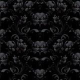 黑玫瑰无缝的样式 传染媒介深黑色花卉backgroun 免版税库存照片