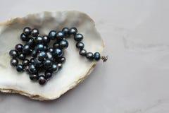 黑珍珠小珠的宏观照片与宝石的在壳,大理石背景 免版税库存照片