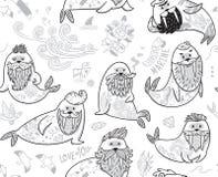黑白与行家海象与胡子和纹身花刺的等高无缝的样式在动画片样式 库存照片