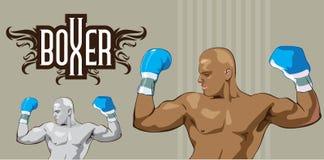 黑白他赢取的片刻的拳击手,颜色 库存例证