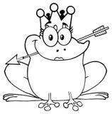 黑白公主Frog Cartoon与冠和箭头的Mascot Character 皇族释放例证