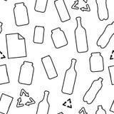 黑白回收垃圾:塑料玻璃沙纸和金属材料生态概念无缝的样式,传染媒介 库存例证