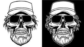 黑白头骨线艺术有胡子和太阳镜的 免版税库存图片