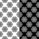 黑白套花卉无缝的样式 免版税库存图片