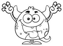 黑白妖怪动画片Emoji字符惊吓 皇族释放例证