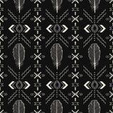 黑白手工制造阿兹台克人,Boho无缝的样式 库存例证