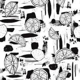 黑白手拉的线艺术在抽象刷子冲程背景的柑桔 E 向量例证